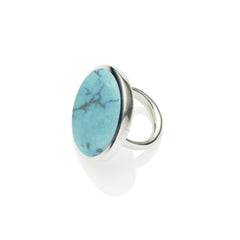 Full Moon Ring in Sterling Silver & Turquoise