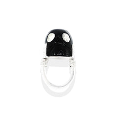 Skull Monarch Ring | Sterling Silver, Black Onyx & Crystal