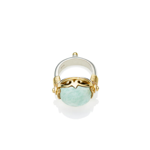 Empress Monarch Ring | Amazonite, Sterling Silver with Gold Plate