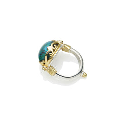 Empress Monarch Ring in Gold Plated Sterling Silver & Chrysocolla