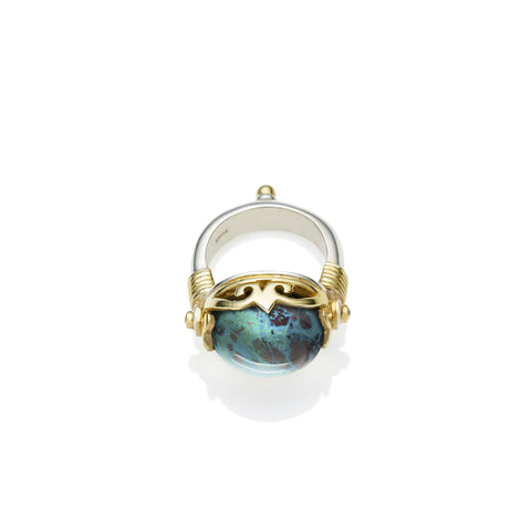 Empress Monarch Ring | Chrysocolla, Sterling Silver with Gold Plate