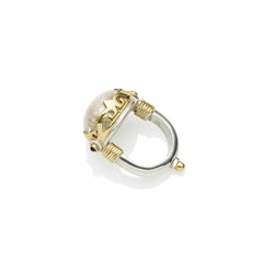 Empress Monarch Ring in Gold Plated Sterling Silver & Golden Rutile
