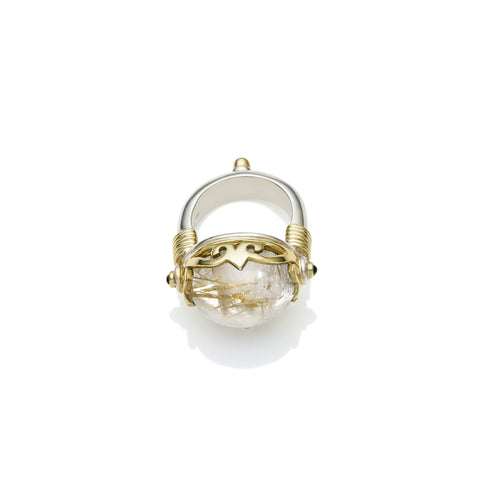 Empress Monarch Ring | Golden Rutile, Sterling Silver with Gold Plate