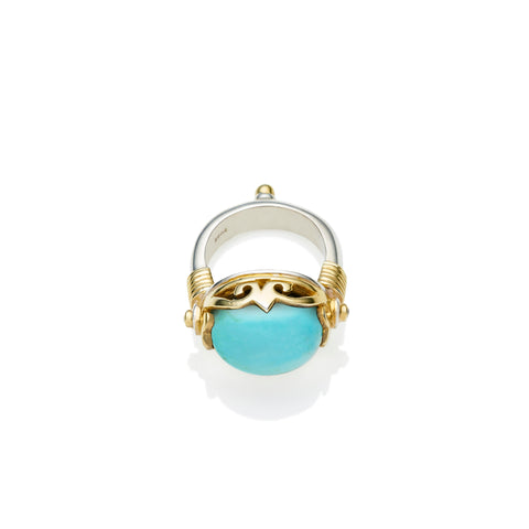 Empress Monarch Ring | Turquoise, Sterling Silver with Gold Plate