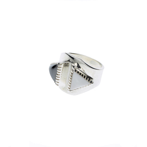 Majaji Ring in Sterling Silver & Hematite/White Agate