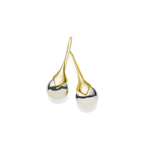 Masai Earrings in Gold Plated Brass & Sterling Silver Orbs