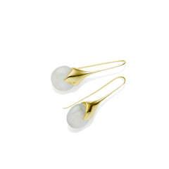 Masai Earrings in Gold Plated Brass & Moonstone