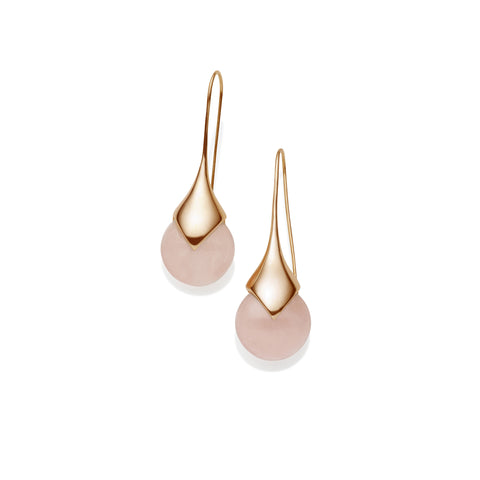 Masai Earrings in Rose Gold Plated Brass & Rose Quartz