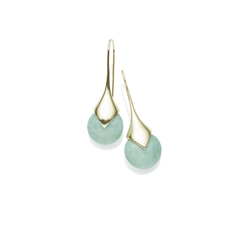 Masai Earrings in Gold Plated Brass & Amazonite