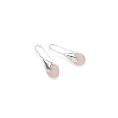 Mini Masai Earrings in Sterling Silver & Rose Quartz