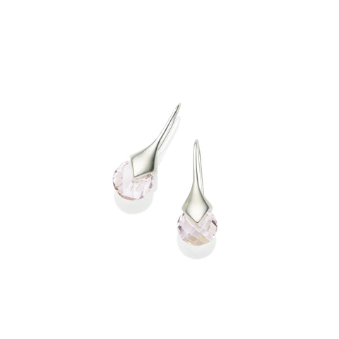Mini Masai Earrings in Sterling Silver & Faceted Rose Quartz