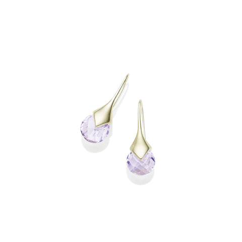 Mini Masai Earrings in Gold Plated Brass & Faceted Amethyst