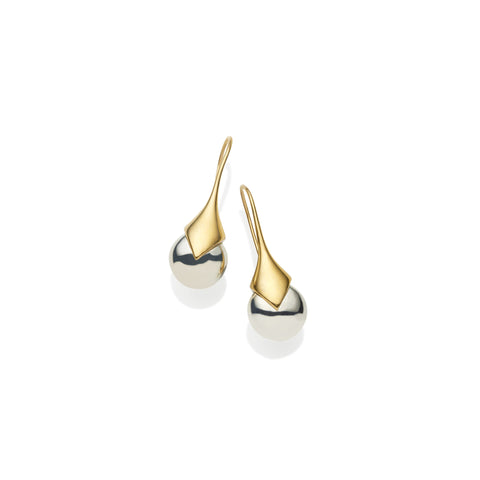 Mini Masai Earrings in Gold Plated Brass & Sterling Silver Orb