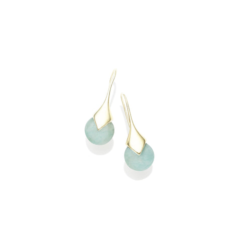 Mini Masai Earrings in Gold Plated Brass & Amazonite