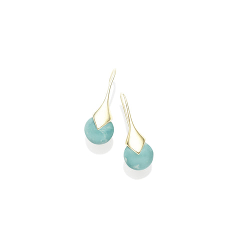 Mini Masai Earrings in Gold Plated Brass & Turquoise