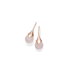 Mini Masai Earrings in Rose Gold Plated Brass & Rose Quartz