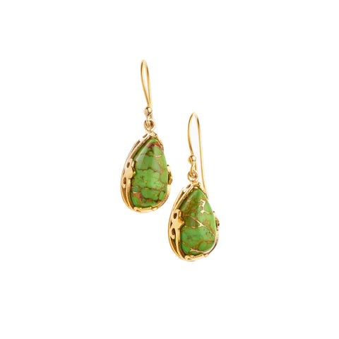 Monarch Earrings | Gold Plated Brass and Lime Copper Turquoise