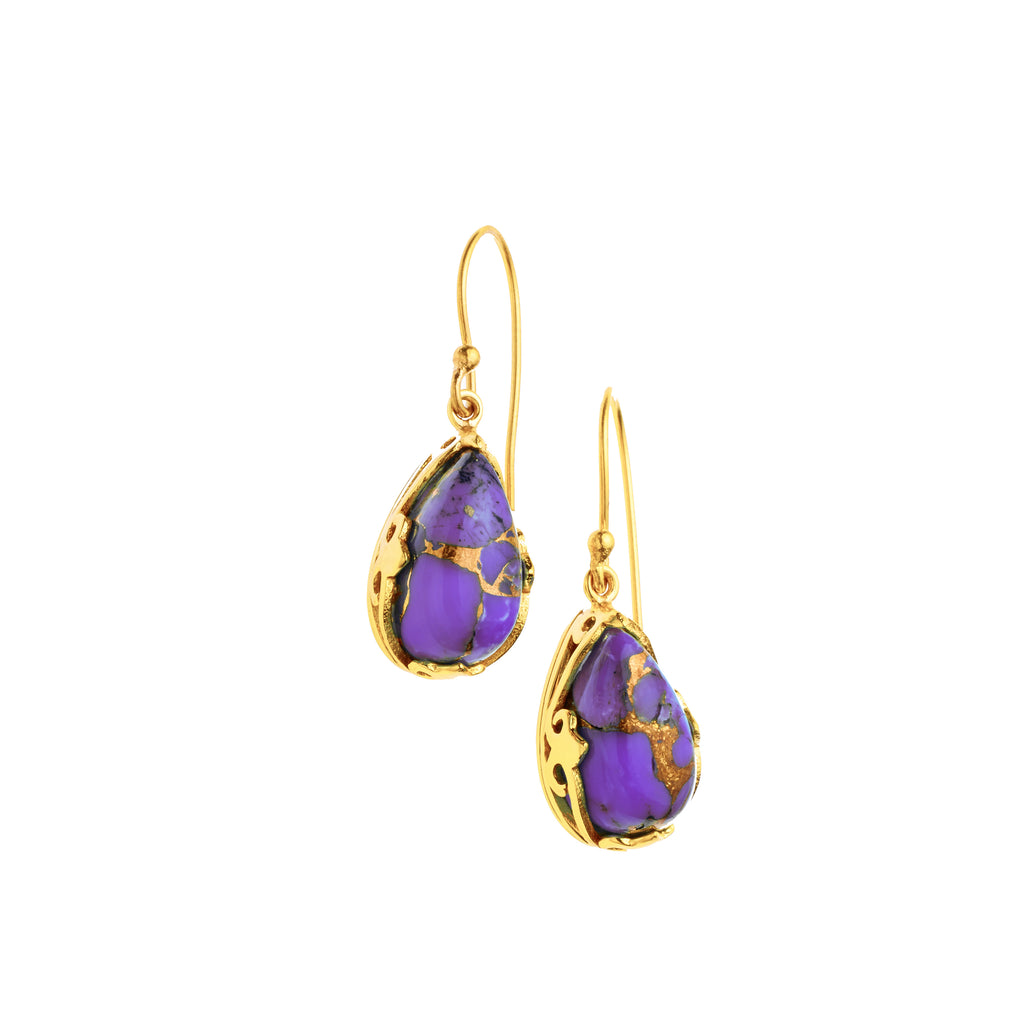 Monarch Earrings | Gold Plated Brass and Purple Copper Turquoise