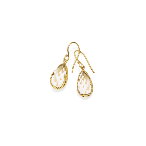 Monarch Earrings | Gold Plated Brass and Faceted Crystal