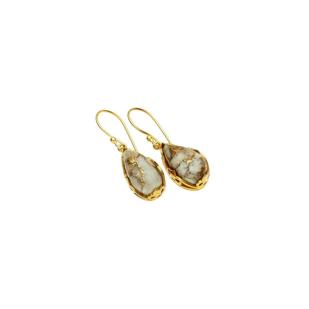 Monarch Earrings in Gold Plated Brass & White Mojave Calcite