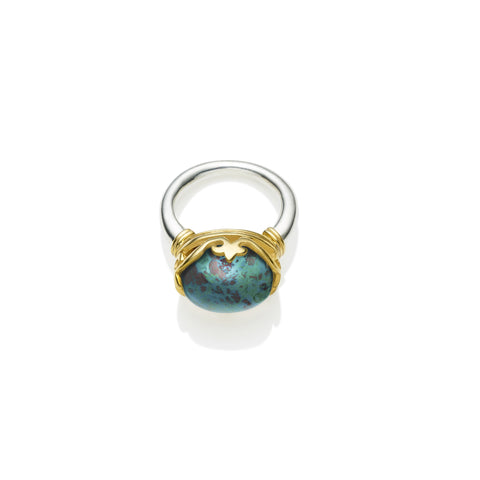 Princess Monarch Ring in Gold Plated Sterling Silver & Chrysocolla