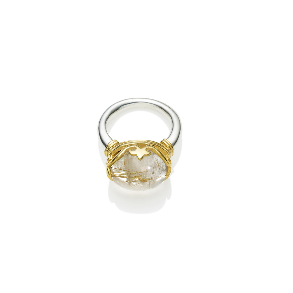 Princess Monarch Ring in Gold Plated Sterling Silver & Golden Rutile