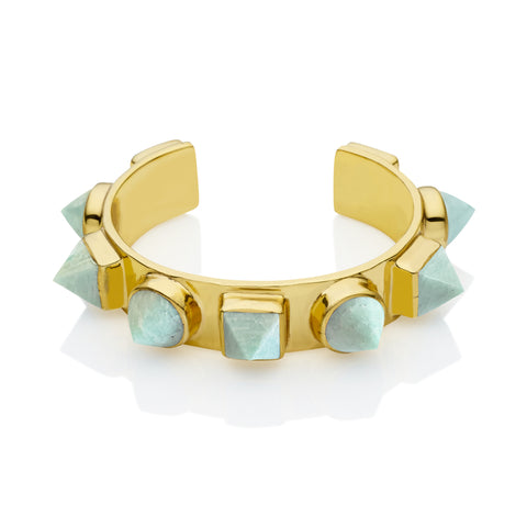 Nubian Cuff in Gold Plated Brass & Amazonite