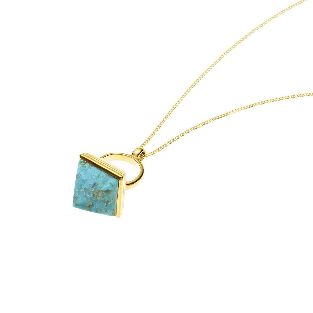 Nubian Pendant in Gold Plated Brass & Turquoise
