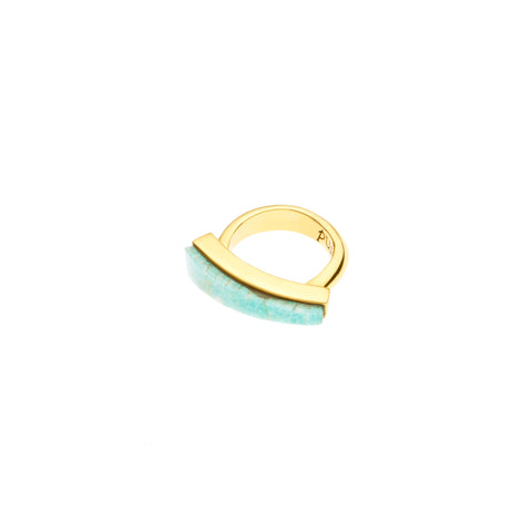 Orion Ring | Amazonite and Brass with Gold Plate