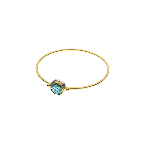 Round Stack Bangle | Blue Topaz with Sterling Silver and Gold Plate