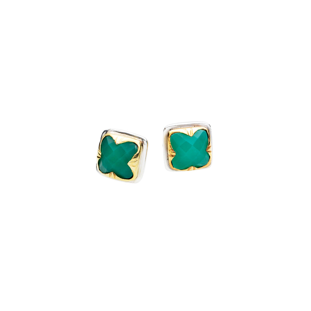 Square Stack Studs | Chrysoprase with Sterling Silver and Gold Plate