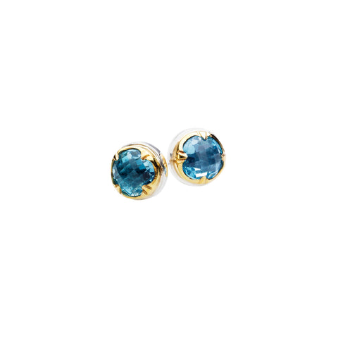 Round Stack Studs | Blue Topaz with Sterling Silver and Gold Plate