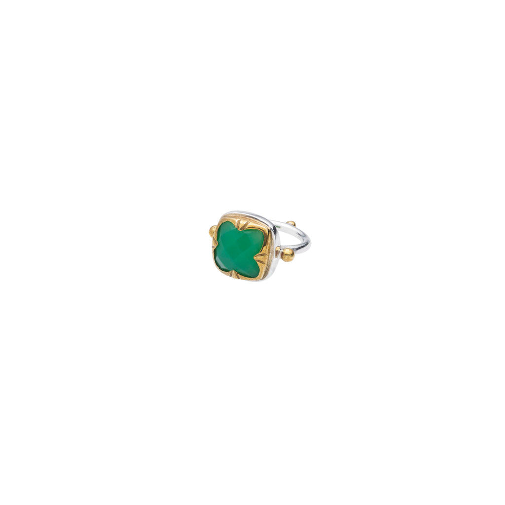 Square Stack Ring | Chrysoprase with Sterling Silver and Gold Plate