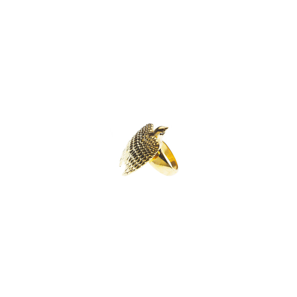 Resting Eagle Ring | Gold Plate