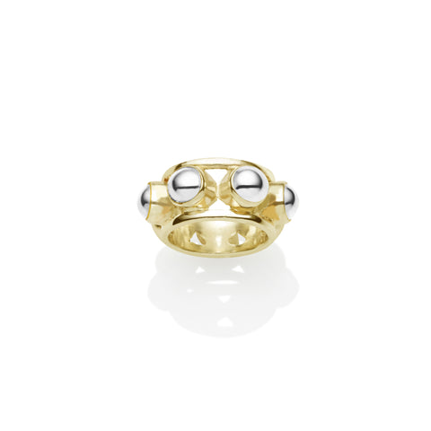 Priestess Ring in Gold Plated Brass & Sterling Silver Cabochon