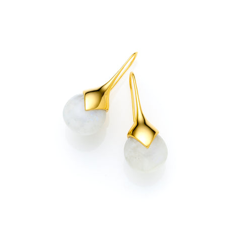 Mid Masai Earrings | Gold Plate and Moonstone