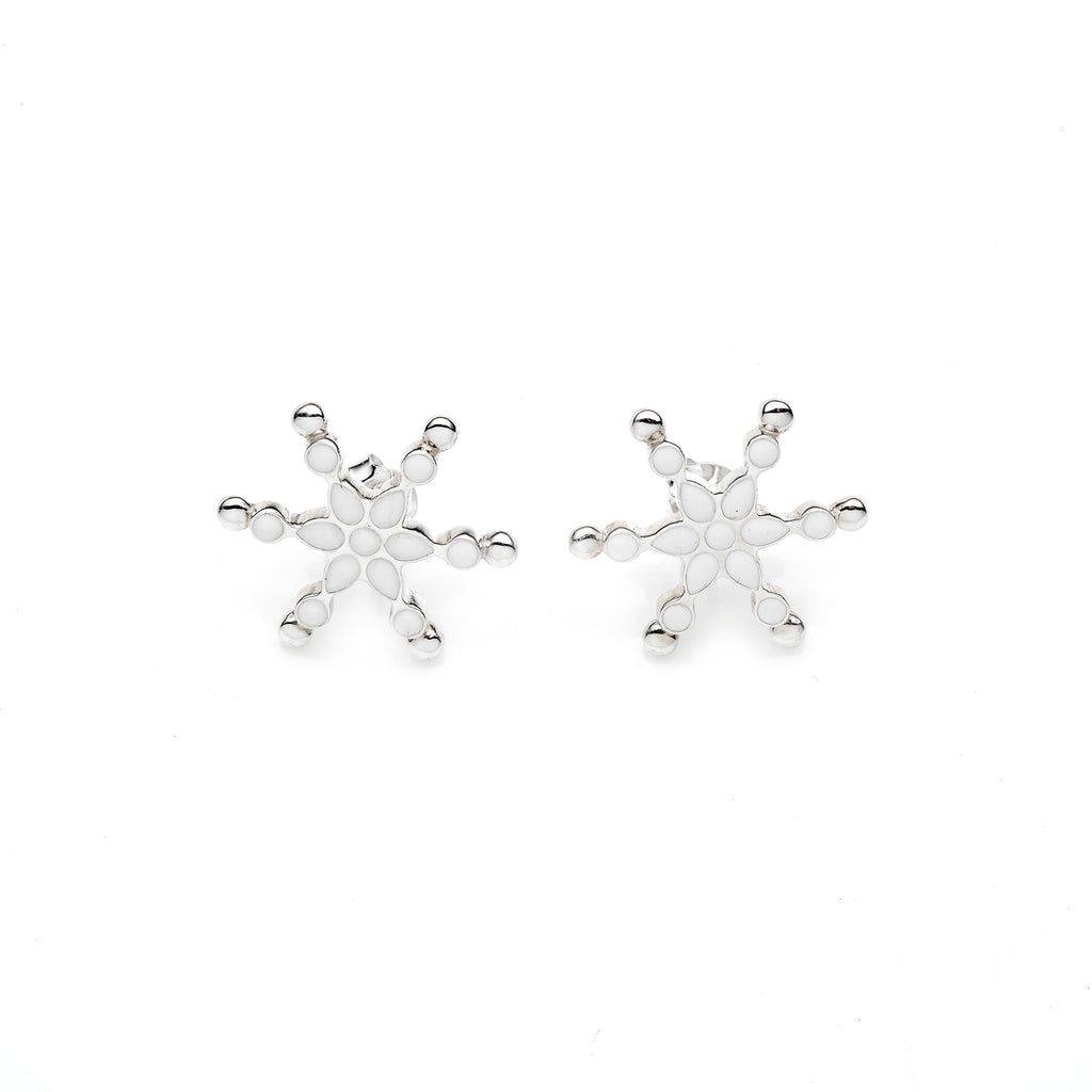 Frost Stud | White Enamel with Sterling Silver