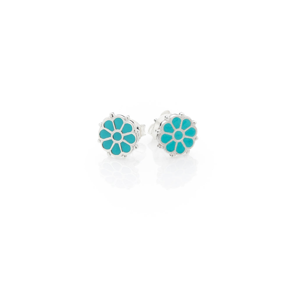 Flower Stud | Turquoise Enamel with Sterling Silver