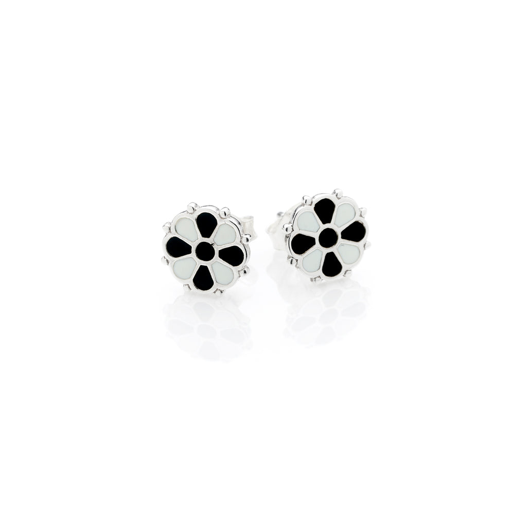 Flower Stud | Black & White Enamel