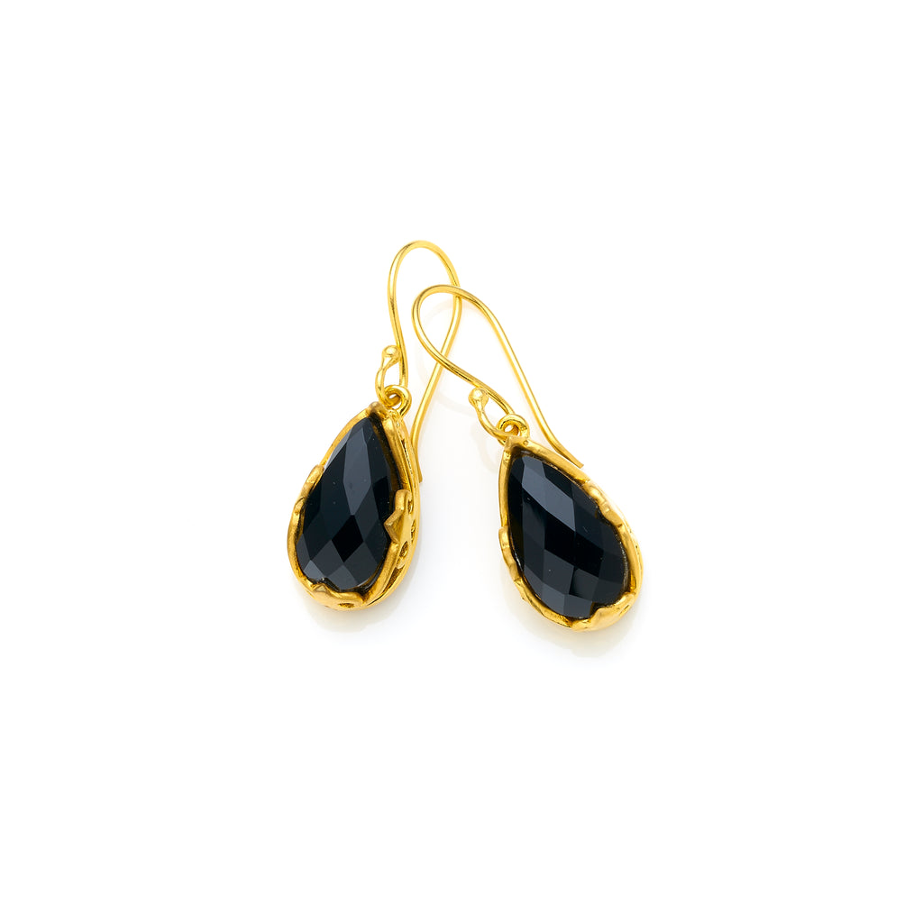 Monarch Earrings | Gold Plated Brass & Faceted Black Onyx