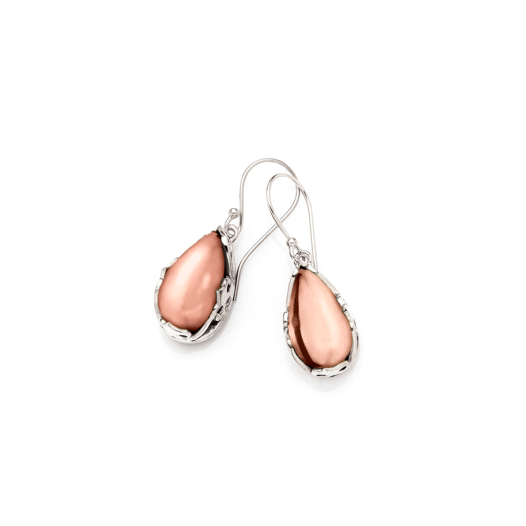 Monarch Earrings |  Sterling Silver and Rose Gold Plated Brass Cabochon