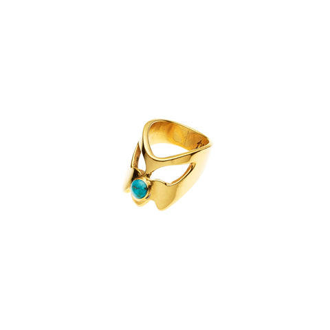 Coyote Uni Ring | Turquoise and Gold Plate