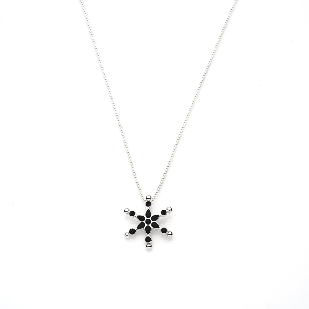 Frost Pendant | Black Enamel with Sterling Silver