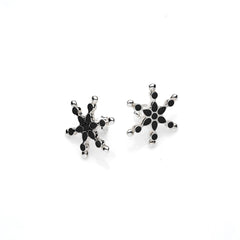 Frost Stud | Black Enamel with Sterling Silver