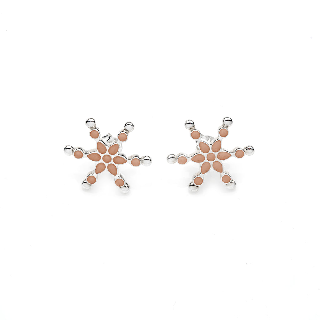 Frost Stud | Rose Gold Enamel with Sterling Silver