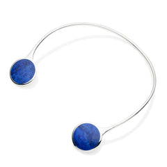 Full Moon Neck Cuff in Sterling Silver & Lapis
