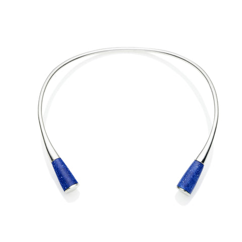 Comet Neck Cuff in Sterling Silver & Lapis