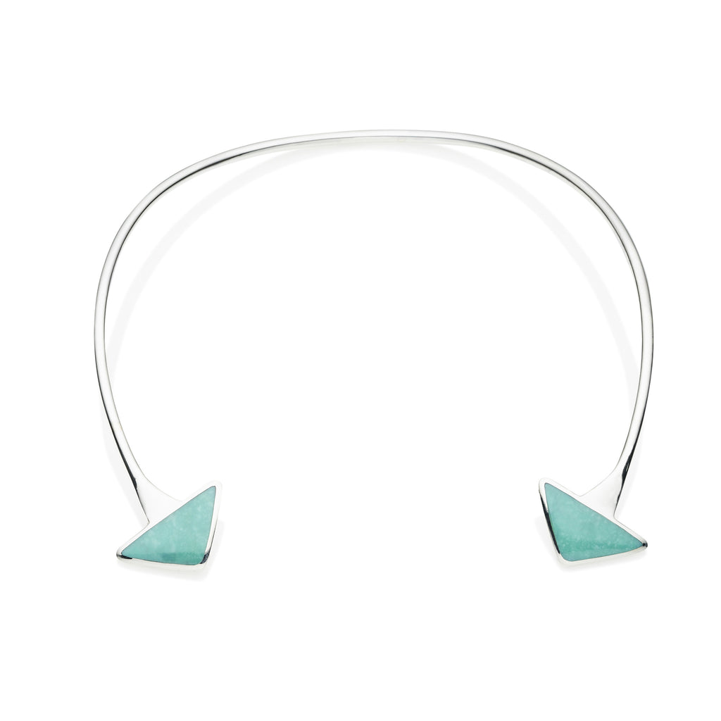 En Tribe Neck Cuff in Sterling Silver & Turquoise