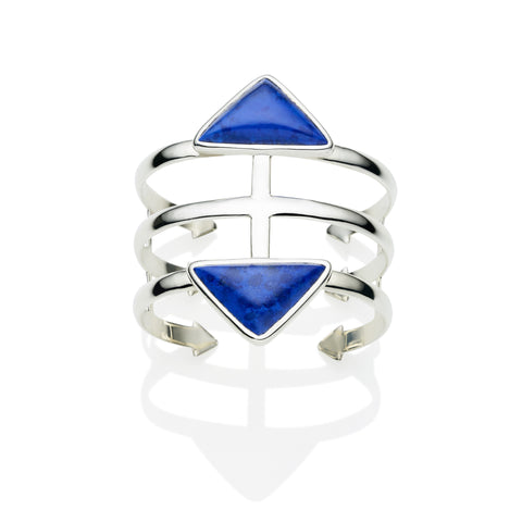 Cage Cuff in Sterling Silver & Lapis