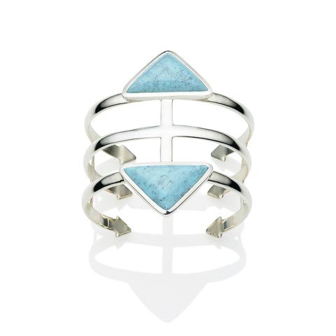 Cage Cuff in Sterling Silver & Turquoise